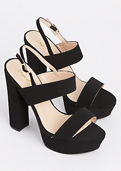 Black Faux Suede Strappy Heel By Qupid