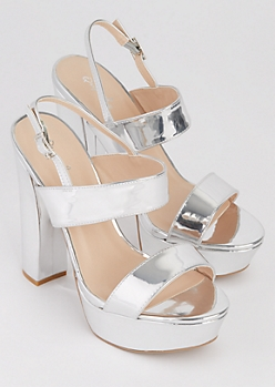 Silver Metallic Strappy Heel By Qupid