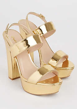 Gold Metallic Strappy Heel By Qupid