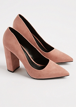 Pink Faux Suede Block Heel By Qupid