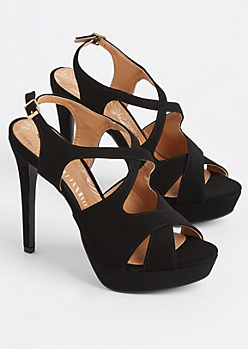 Black Faux Suede Slingback Stiletto Heel By Qupid