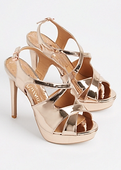 Rose Gold Slingback Stiletto Heel By Qupid