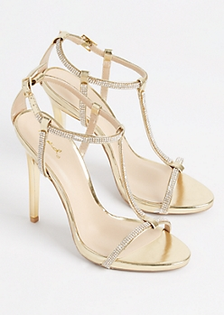 Gold Metallic T Strap Stiletto Heel By Qupid
