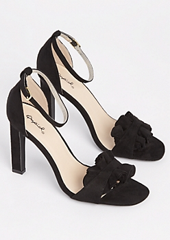 Black Ruffled Peep Toe Heel By Qupid