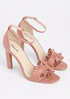 Dusty Rose Ruffled Peep Toe Heel By Qupid