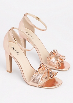 Rose Gold Ruffled Peep Toe Heel By Qupid