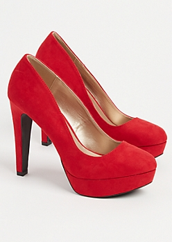 Red Faux Suede Pumps By Qupid