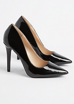 Black Faux Patent Leather Stiletto By Qupid