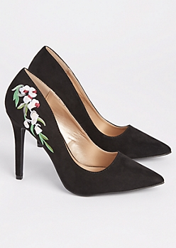 Black Faux Suede Embroidered Stiletto Heel By Qupid