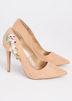 Pink Faux Suede Embroidered Stiletto Heel By Qupid