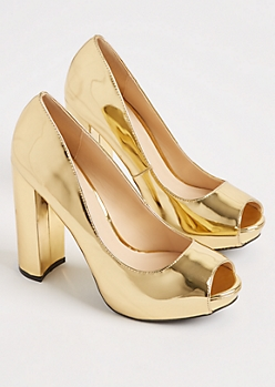 Gold Metallic Peep Toe Block By Qupid