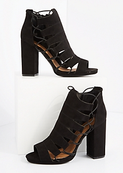 Black Bungee Cord Caged Shootie by Qupid®
