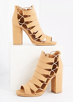 Tan Bungee Cord Caged Shootie by Qupid®