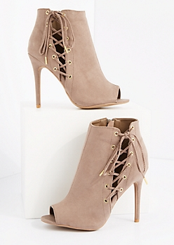 Taupe Side Laced Microsuede Shootie by Qupid®