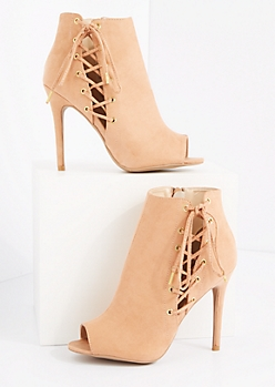 Pink Side Laced Microsuede Shootie by Qupid®