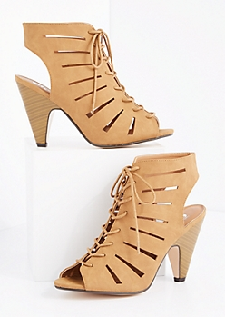 Tan Cut-Out Cone Heel