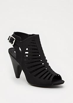 Black Caged Cone Heel