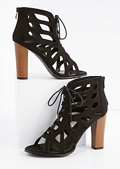 Black Geo Cut-Out Stacked Heel