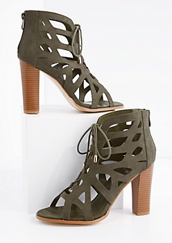 Olive Geo Cut-Out Stacked Heel