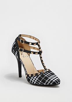 Plaid Studded T-Strap Heel