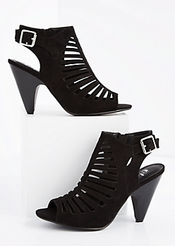 Black Cut-Out Cone Heel
