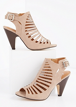 Taupe Cut-Out Cone Heel