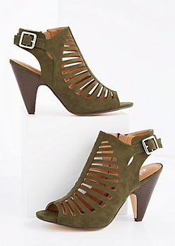 Olive Cut-Out Cone Heel