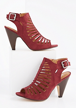 Burgundy Cut-Out Cone Heel