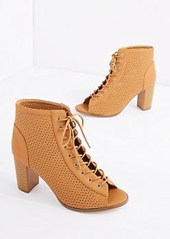 Cognac Perforated Peep Toe Heel