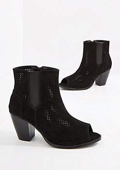 Black Perforated Stacked Heel Shootie