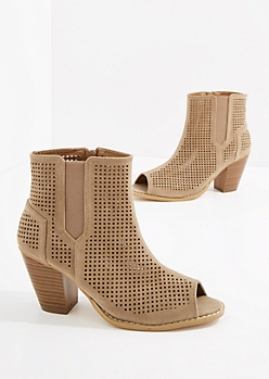 Taupe Perforated Stacked Heel Shootie