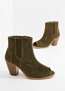 Olive Perforated Stacked Heel Shootie