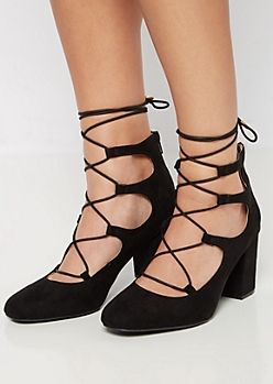 Black Lace-Up Block High Heel