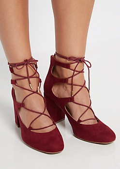 Burgundy Lace-Up Block High Heel