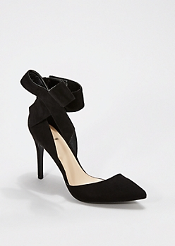 Black Oversized Bow Pointed Toe Heel