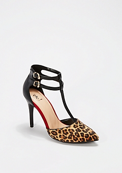 Animal Print Pointed Toe Strappy Heel