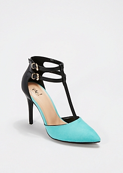 Teal Pointed Toe Strappy Heel