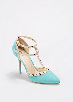 Teal Faux Patent Leather Studded Pumps