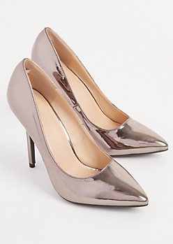 Pewter Metallic Pointed Toe Stiletto By Wild Diva