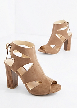 Taupe Cut-Out Heel By Wild Diva®