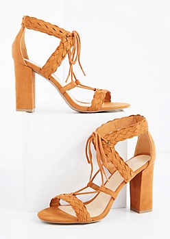 Cognac Braided Lace-Up Heel By Wild Diva®