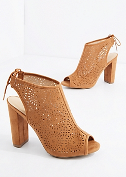 Cognac Medallion Peep Toe Heel By Wild Diva®