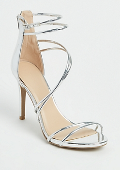 Metallic Silver Strappy Stiletto By Wild Diva