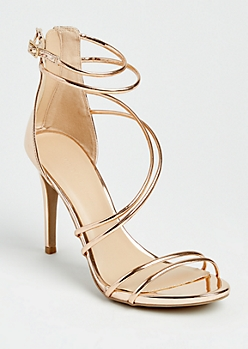 Rose Gold Metallic Strappy Stiletto By Wild Diva