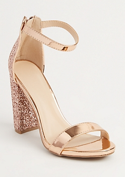 Rose Gold Glitter Strappy Stacked Heel