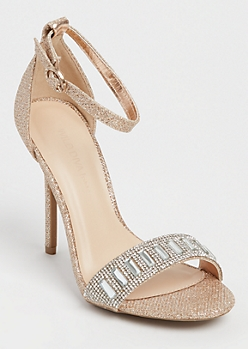 Rose Gold Glitter Stone Embellished Stiletto By Wild Diva