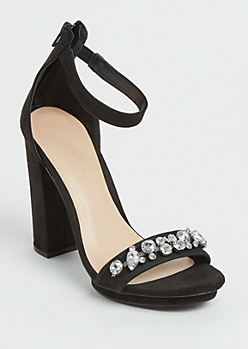 Black Faux Suede Stone Embellished Platform Heel By Wild Diva