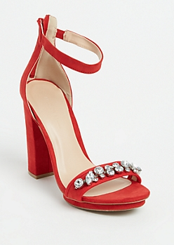 Red Faux Suede Stone Embellished Platform Heel By Wild Diva