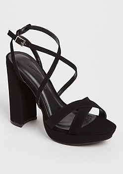 Black Cross Strap Platform Heel by Wild Diva