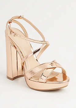 Rose Gold Cross Strap Platform Heel by Wild Diva
